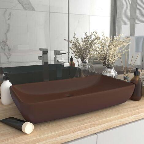 Luxury Basin Rectangular Matt Dark Brown 71x38 cm Ceramic - Brown