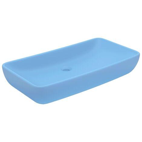 Luxury Basin Rectangular Matt Light Blue 71x38 cm Ceramic