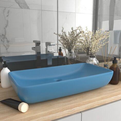 Luxury Basin Rectangular Matt Light Blue 71x38 cm Ceramic - Blue