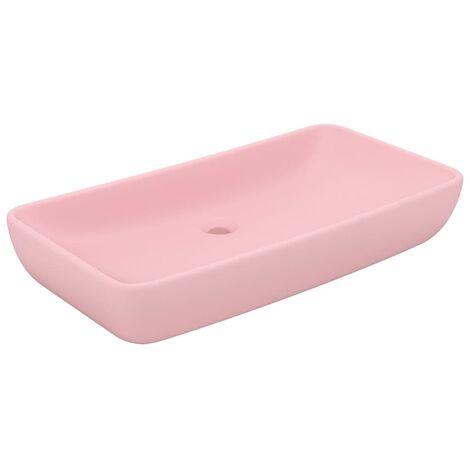 Luxury Basin Rectangular Matt Pink 71x38 cm Ceramic