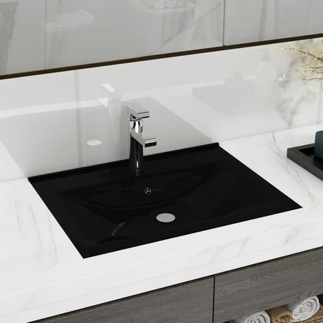 Luxury Basin with Faucet Hole Matt Black 60x46 cm Ceramic