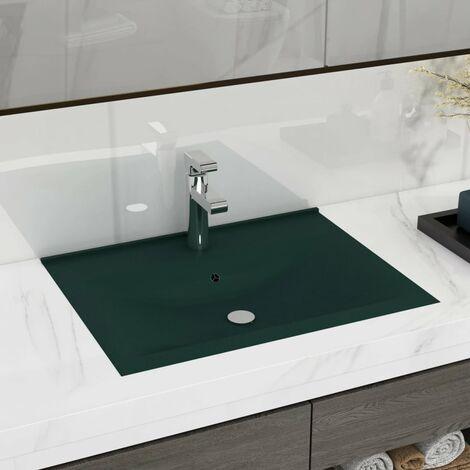 Luxury Basin with Faucet Hole Matt Dark Green 60x46 cm Ceramic - Green
