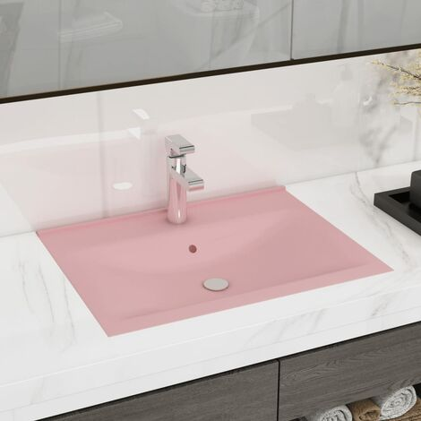 Luxury Basin with Faucet Hole Matt Pink 60x46 cm Ceramic - Pink