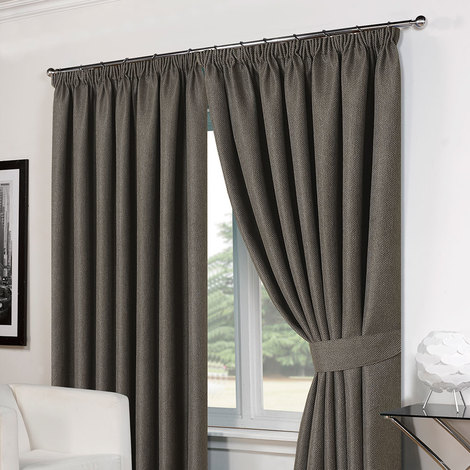 "Luxury Basket Weave Lined  Tape Top Curtains with Tiebacks - Charcoal 66""x54"""