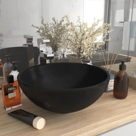 Luxury Bathroom Basin Round Matt Black 32.5x14 cm Ceramic - Black