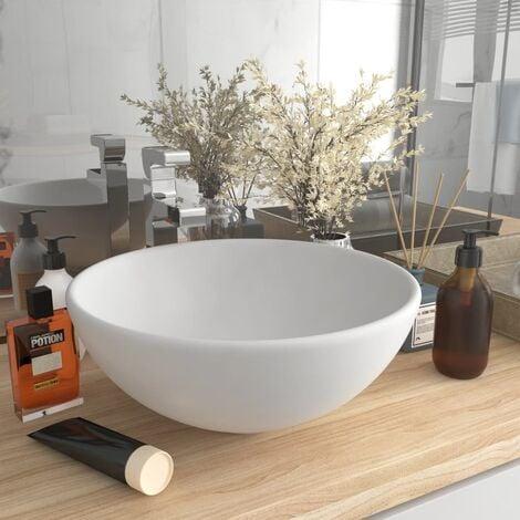 """main image of """"Luxury Bathroom Basin Round Matt White 32.5x14 cm Ceramic - White"""""""