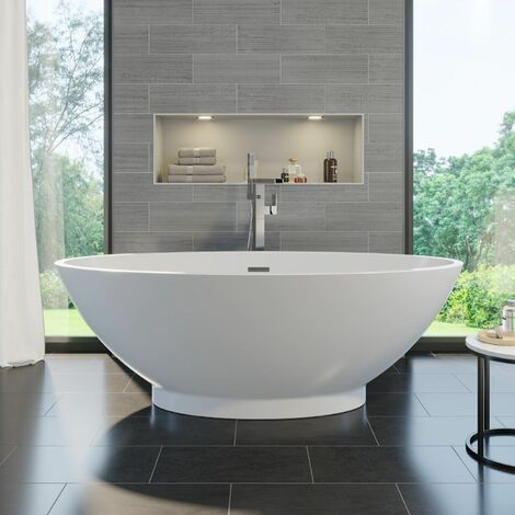 Luxury Campana Modern Freestanding Bath 1680mm Acrylic Built in Waste White