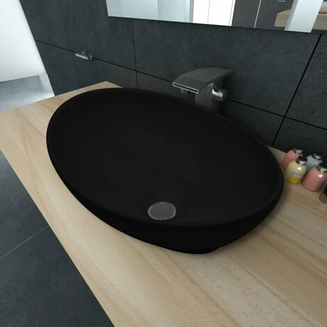 Luxury Ceramic Basin Oval-shaped Sink Black 40 x 33 cm