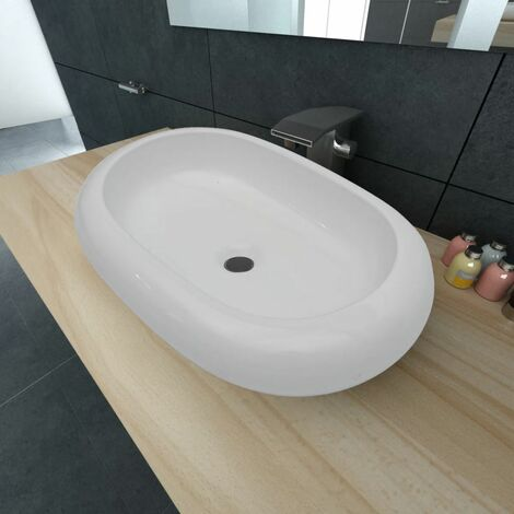 Luxury Ceramic Basin Oval-shaped Sink White 63 x 42 cm