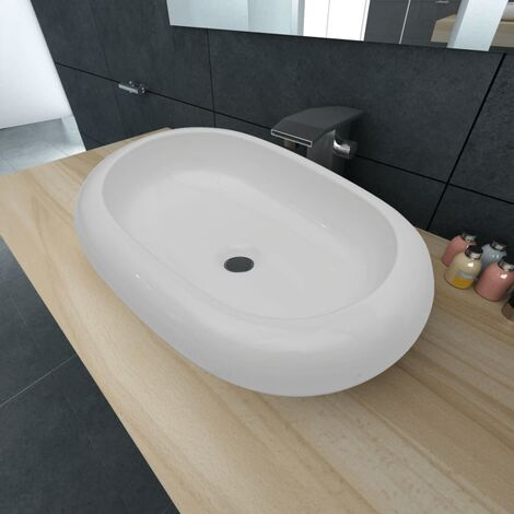 Luxury Ceramic Basin Oval-shaped Sink White 63 x 42 cm