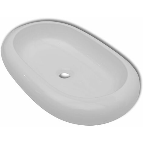 Luxury Ceramic Basin Oval-shaped Sink White 63 x 42 cm QAH03666