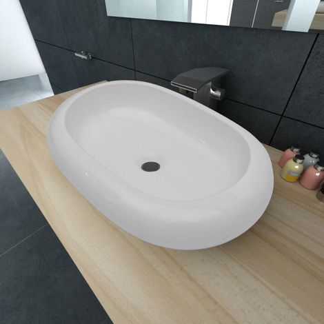 Luxury Ceramic Basin Oval-shaped Sink White 63 x 42 cm VD03666