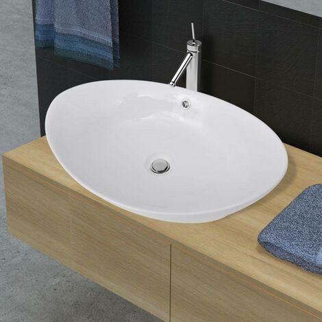 Luxury Ceramic Basin Oval with Overflow 59 x 38,5 cm VD03670
