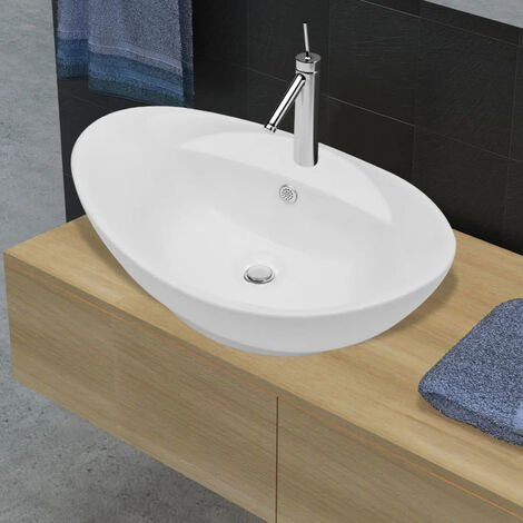 Luxury Ceramic Basin Oval with Overflow and Faucet Hole