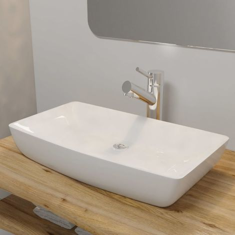 Luxury Ceramic Basin Rectangular Sink White 71 x 39 cm VD03677