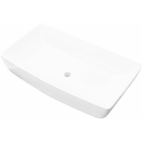 Luxury Ceramic Basin Rectangular Sink White 71 x 39 cm - White