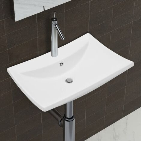 Luxury Ceramic Basin Rectangular with Overflow & Faucet Hole