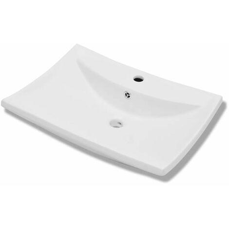 Luxury Ceramic Basin Rectangular with Overflow & Faucet Hole QAH03675
