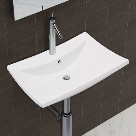 Luxury Ceramic Basin Rectangular with Overflow & Faucet Hole VD03675