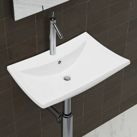 Luxury Ceramic Basin Rectangular with Overflow & Faucet Hole VDTD03675