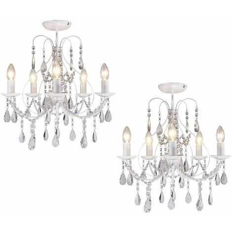 Luxury Chrome or White & Crystal 5 Light Ceiling Chandelier Lounge BHS Sapparia