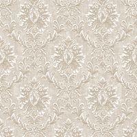 Cream Beige Damask Wallpaper Shimmer Villa Borghese Luxury Heavyweight Grandeco