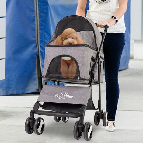 Luxury Dog Cat Pet Stroller with Detach Carrier Heavy Duty Foldable Pushchair