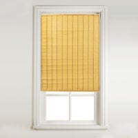 Luxury East Raffia Quality Easy To Install Roll Up Window Roller Blind - Trimmable - Yellow (120cm Wide x 160cm Drop)