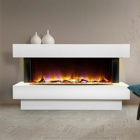 Luxury Electric Fireplace Suite White Fire Heater Remote Control Flame LED Light
