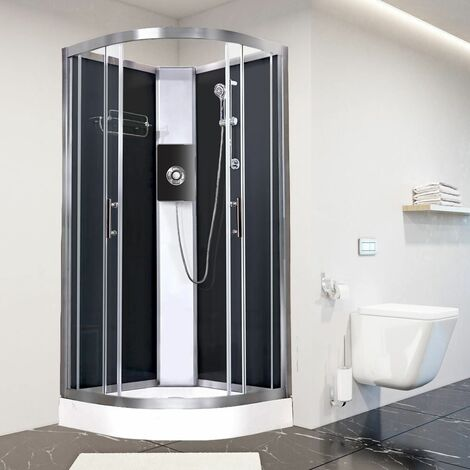 Luxury Electric Shower Cabin Vidalux Pure E Quadrant 1000 Black Enclosure 9.5kW