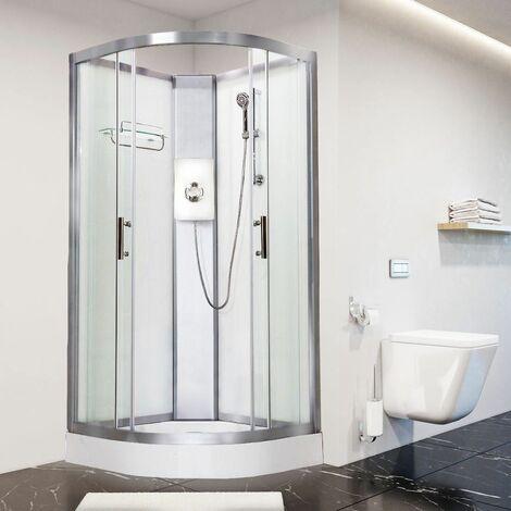 Luxury Electric Shower Cabin Vidalux Pure E Quadrant 1000 White Enclosure 8.5kW