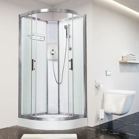 Luxury Electric Shower Cabin Vidalux Pure E Quadrant 1000 White Enclosure 9.5kW