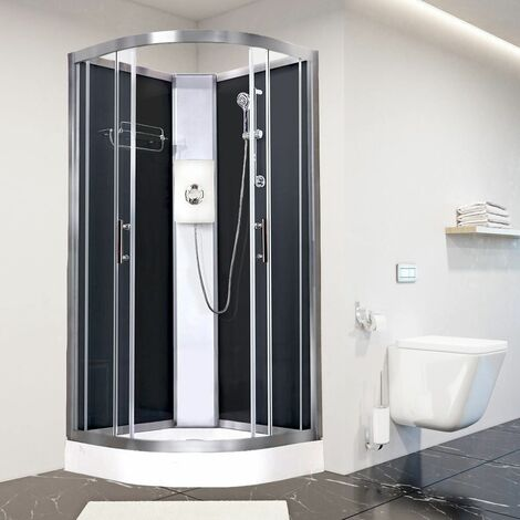 Luxury Electric Shower Cabin Vidalux Pure E Quadrant 800 Black Enclosure 9.5kW