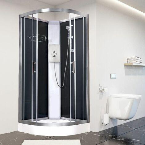 Luxury Electric Shower Cabin Vidalux Pure E Quadrant 900 Black Enclosure 8.5kW