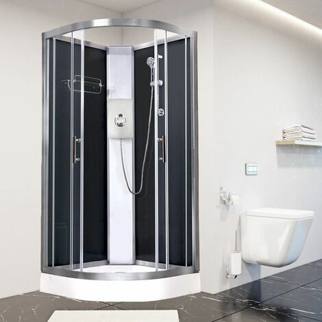 Luxury Electric Shower Cabin Vidalux Pure E Quadrant 900 Black Enclosure 9.5kW