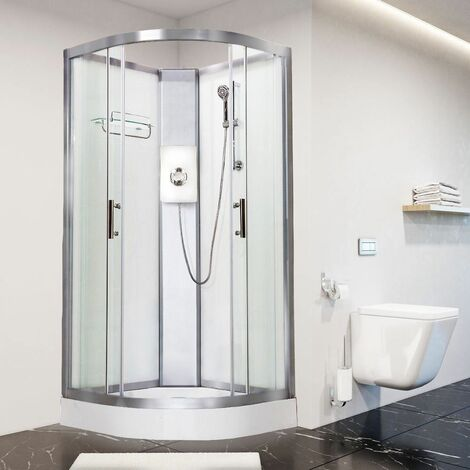 Luxury Electric Shower Cabin Vidalux Pure E Quadrant 900 White Enclosure 8.5kW