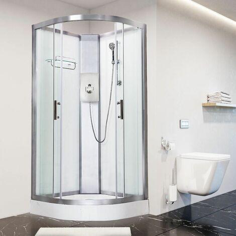 Luxury Electric Shower Cabin Vidalux Pure E Quadrant 900 White Enclosure 9.5kW