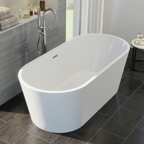 Luxury Evettes Modern Freestanding Bath 1500mm Acrylic Built in Waste White
