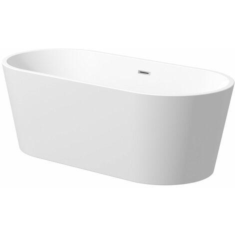 Luxury Evettes Modern Freestanding Bath 1700mm Acrylic Built in Waste White
