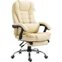 Luxury Executive High Back Reclining Swivel Chair with Footrest in Faux Leather
