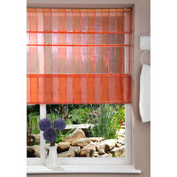Luxury Fabric Shade 100cm Corded Window Roman Blind Kit Orange and Pink Striped Design