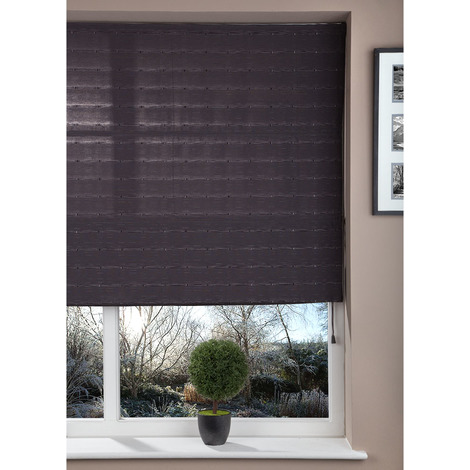 Luxury Fabric Shade 60cm Corded Window Roman Blind Kit Dark Grey Patterned Design