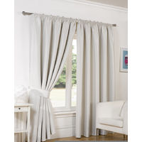 """Luxury Faux Silk Blackout Curtains Including Tiebacks - Natural 66""""X54"""""""