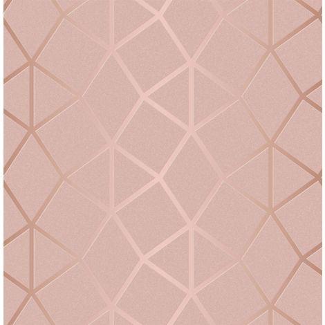 Luxury Foil Trellis Wallpaper Rose Gold Blush Geometric Metallic Fine Decor