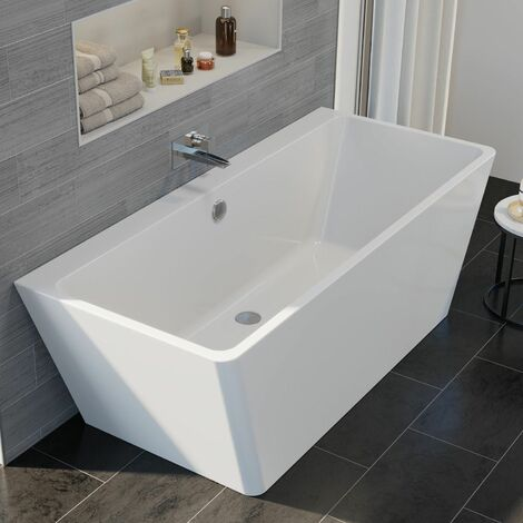 Luxury Fontaine Modern Freestanding Bath 1700mm Acrylic Built in Waste White