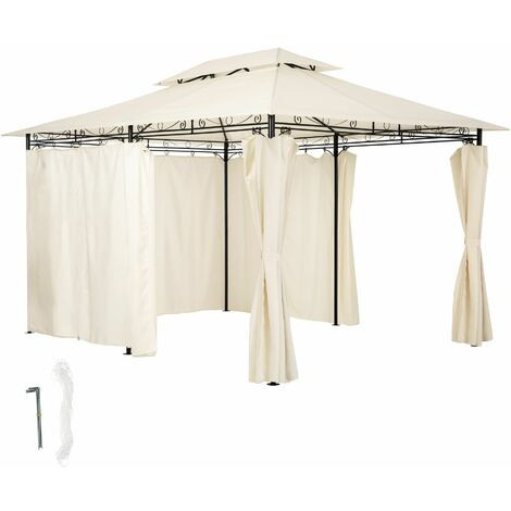 Luxury gazebo 4x3m with 6 side panels - garden gazebo, gazebo with sides, camping gazebo