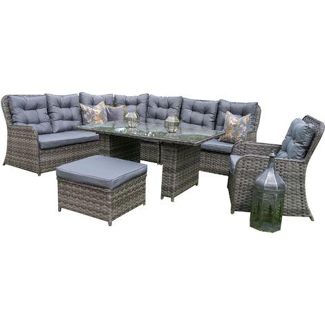 Luxury Grey Rattan Corner Sofa Dining Set