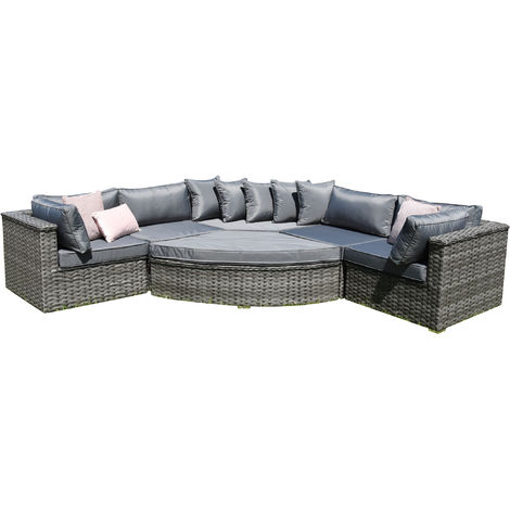 Luxury Grey Rattan Curved Corner Sofa Set With Extra Chair