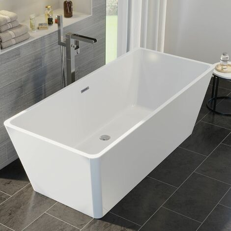 Luxury Lamoura Modern Freestanding Bath 1700mm Acrylic Built in Waste White