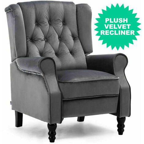 Luxury Life Althorpe Reclining Armchair Manual Push Back Recliner Small Sofa. Gaming Bedroom Armchair